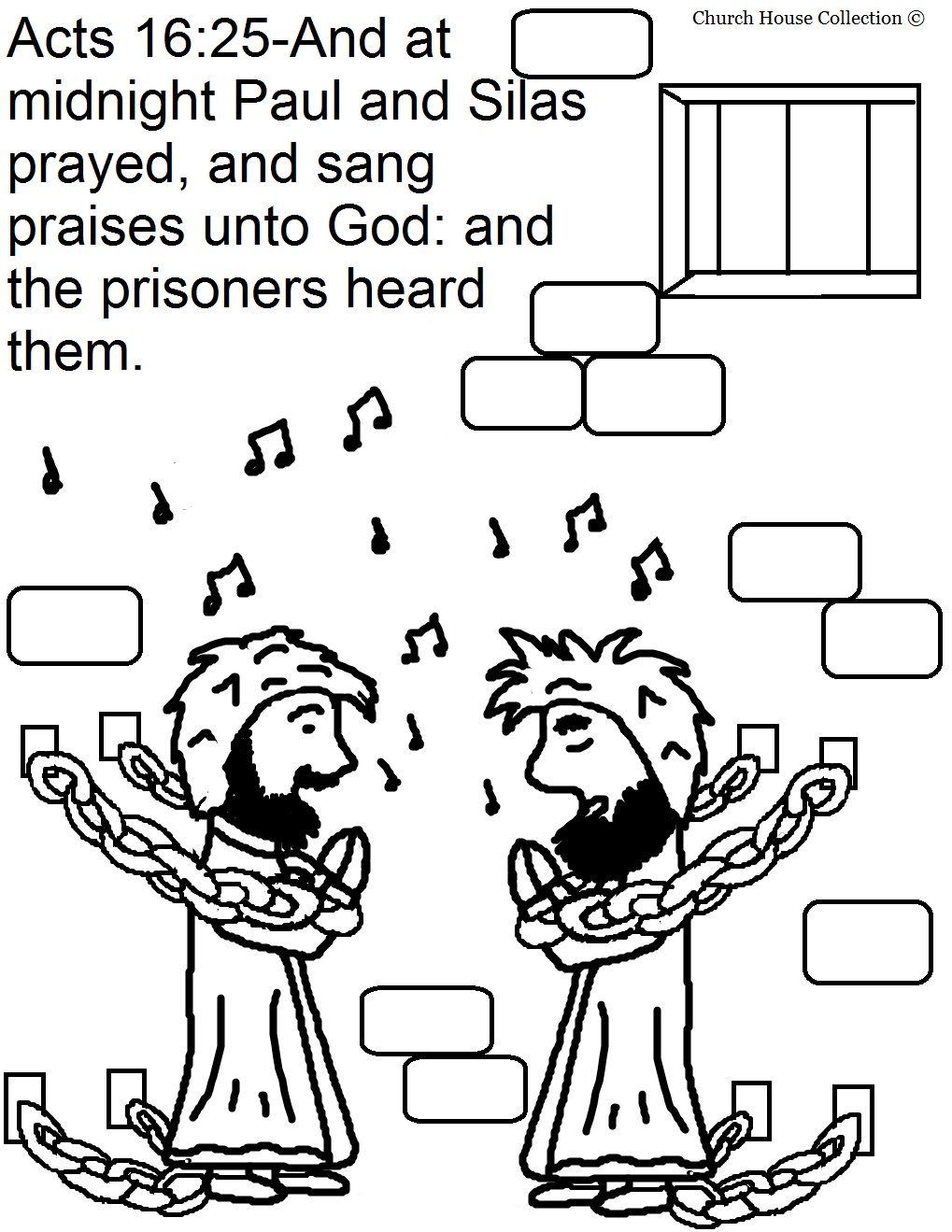 Free coloring pages of john peter jail for Peter and john in jail coloring page