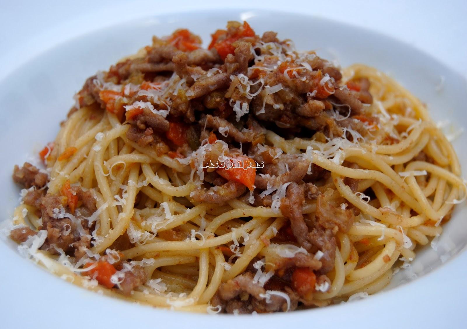 Espaguetis con Ternera Picada