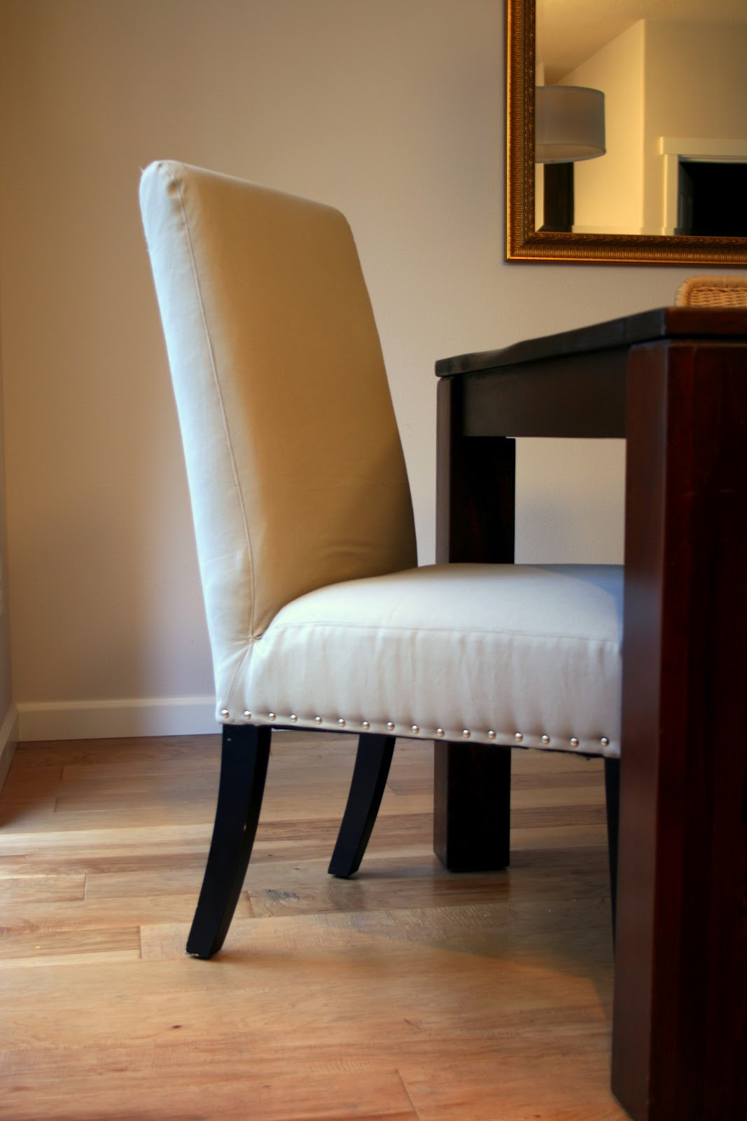 SO Proud Of My Little Upholstery Project. Nailhead Parsons Chairs Makeover!  / Create / Enjoy