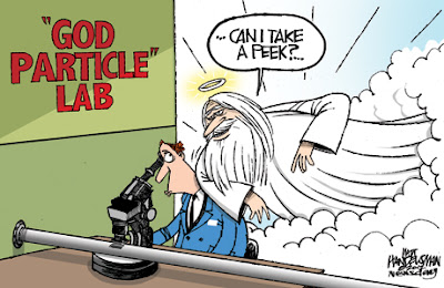 "In a room labeled ""'GOD PARTICLE' LAB"", a guy in blue coat peers through a microscope at a cutout in a long tube. A luminous old man with a long white beard and a halo leans over his shoulder and asks ""Can I take a peek?"""