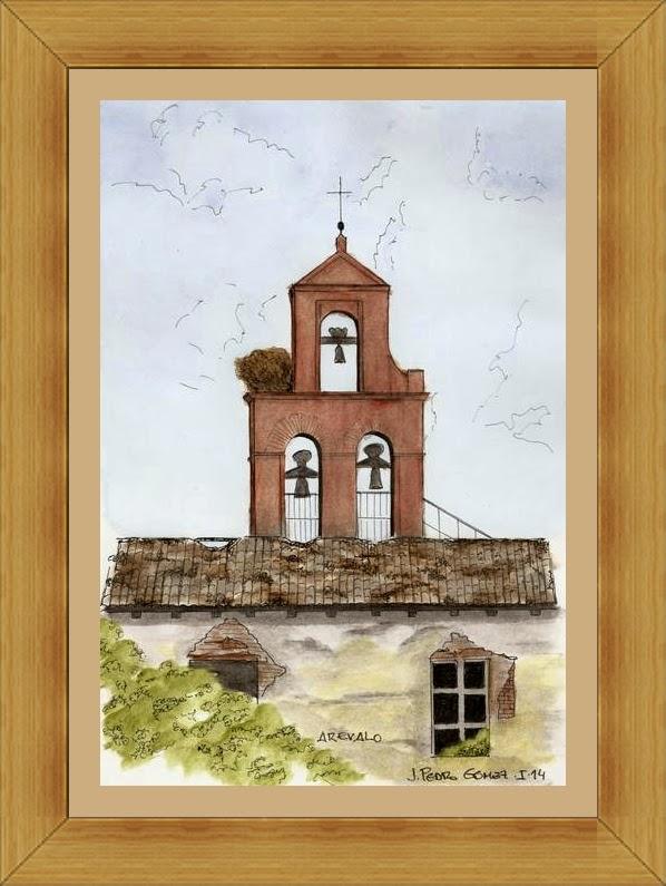 dibujo pintura tecnica mixta acuarela plumilla campanario ruinas tordesillas
