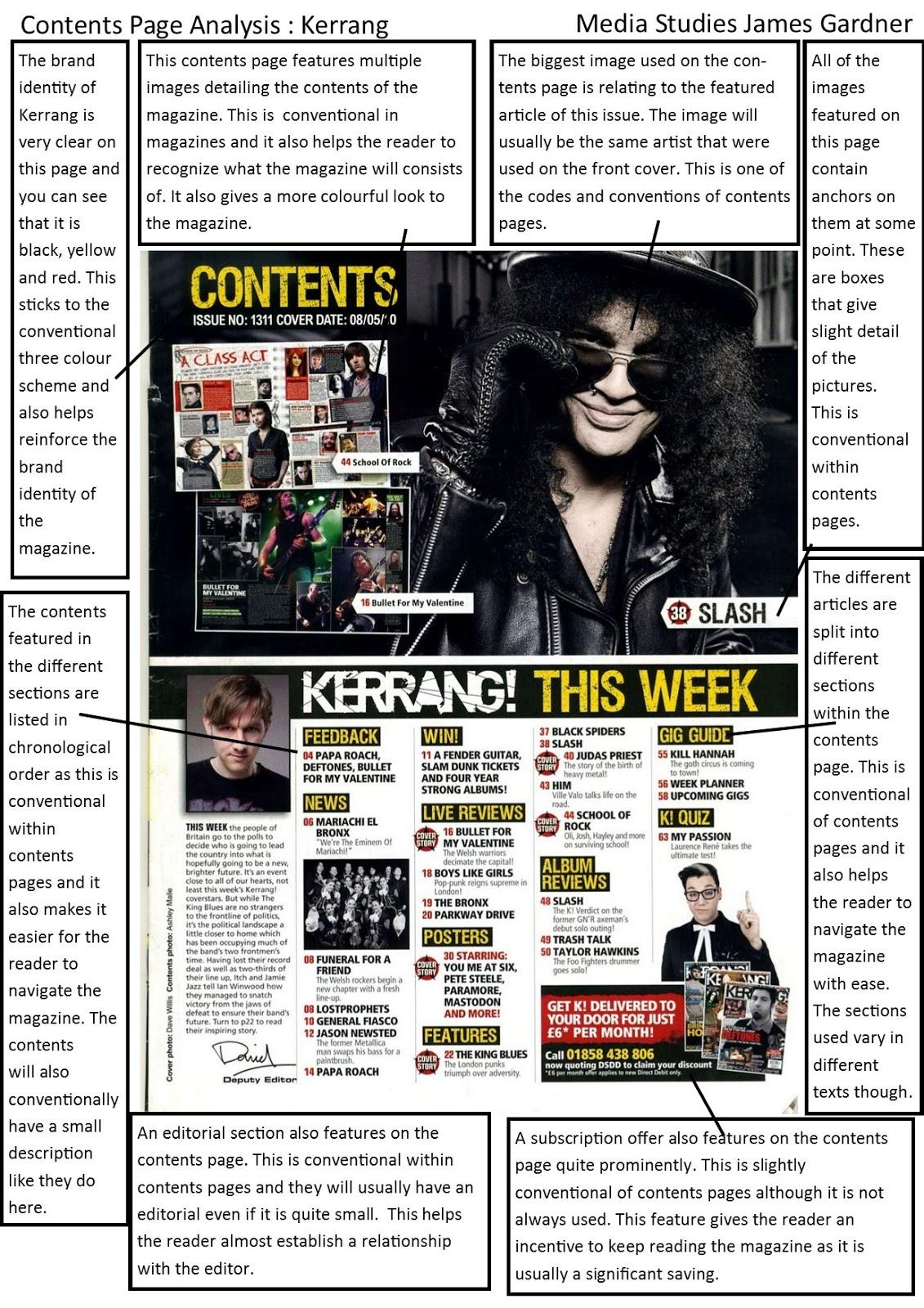 Kerrang magazine analysis essay