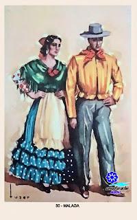 Traje típico de Málaga - Editorial Artigas 1940 - Diseño: Tuser