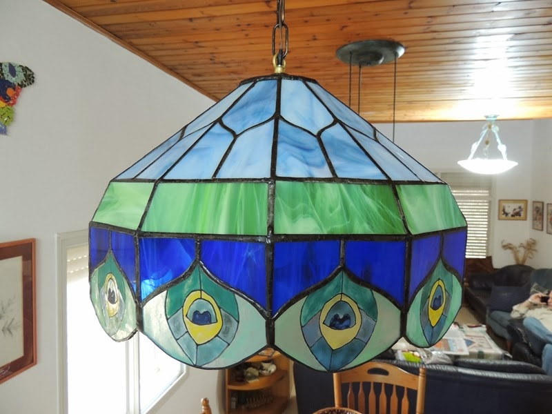 Stained glass lampshade by artist Meirah Brezner