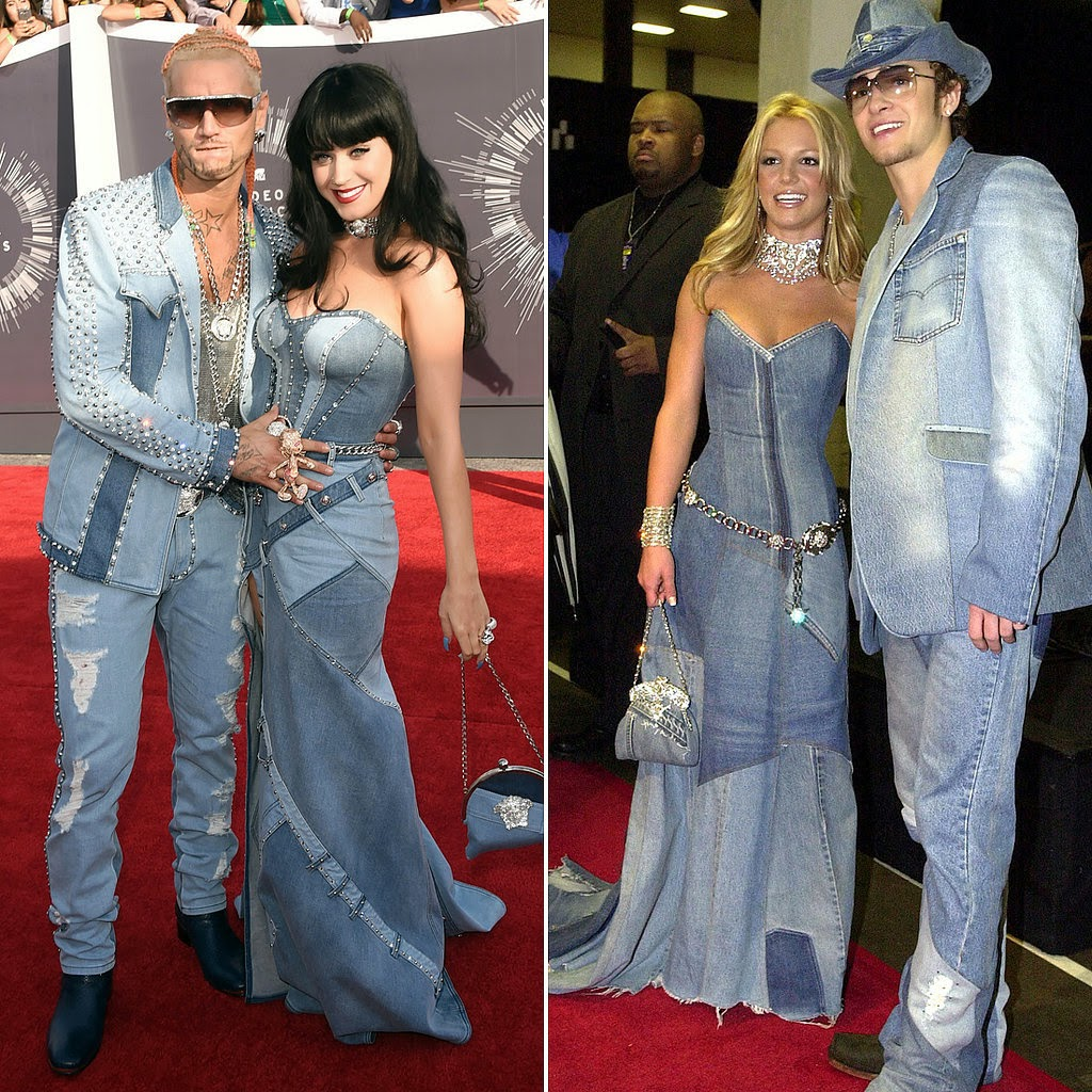 vmas, red carpet,  red carpet fashion, mtv, mtv vmas, best dressed, vmas red carpet photos, video music awards, fashion, fashion blog, womens fashion, katy perry, riff raff, britney spears, justin timberlake, double denim, 2001, denim, celebrity couple