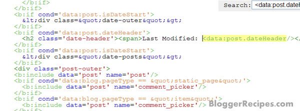 Adding 'Last Modified' Label to Blogger date