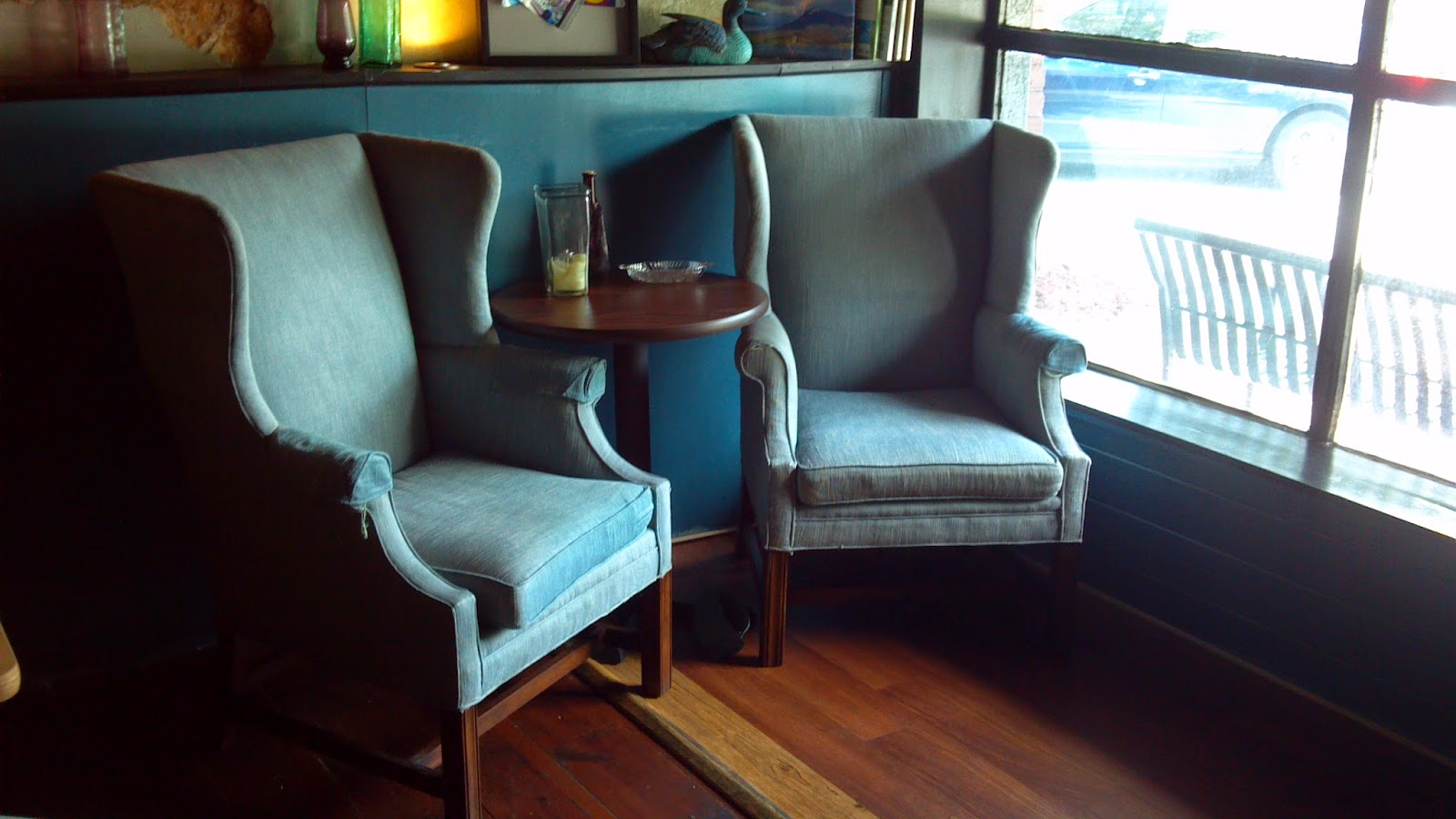 Two blue chairs in One Blue Duck