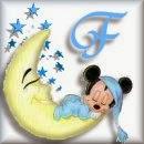 Alfabeto de Mickey Bebé durmiendo en la luna F.