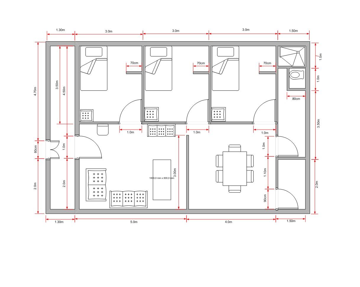Plano de casa tres dormitorios un piso planos pinterest for Planos para remodelar mi casa