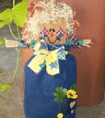 Blue jean scarecrow greeter craft