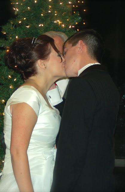marriage, winter wedding, modest wedding dress, first kiss,