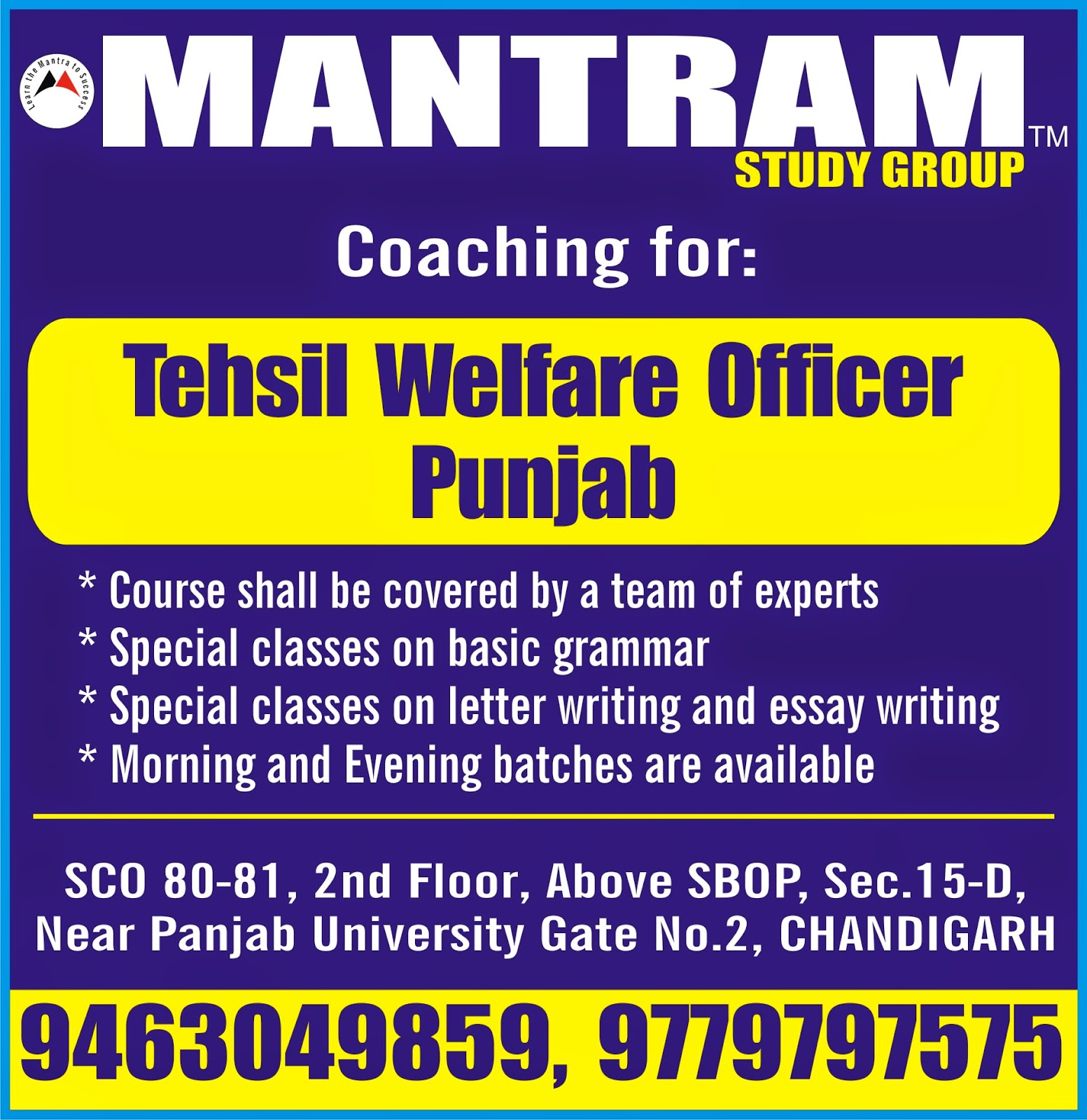 mantram study group punjab jobs  join coaching for tehsil welfare officer punjab by mantram study group in chandigarh