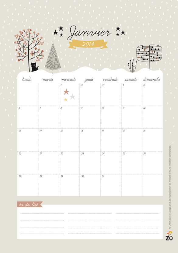 Happy new year with free printable calendar for january for Art et decoration fevrier 2014