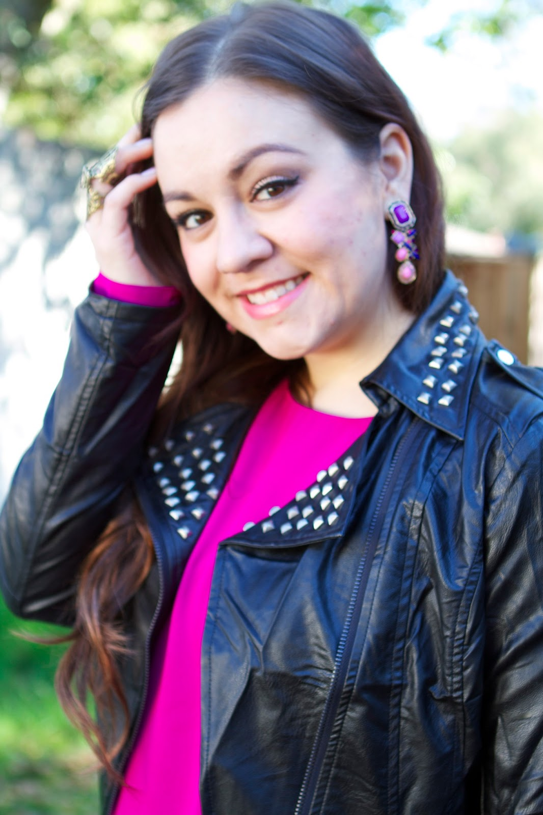 SF Bay Area Fashion & Style Blog - Studded moto jacket, leather pants, magenta top, purple stone earrings, shoe jewelry - Blue Vanilla + Red Stripes Boutique