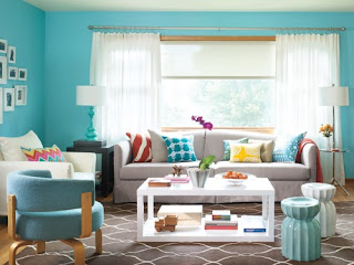 decorar sala con turquesa