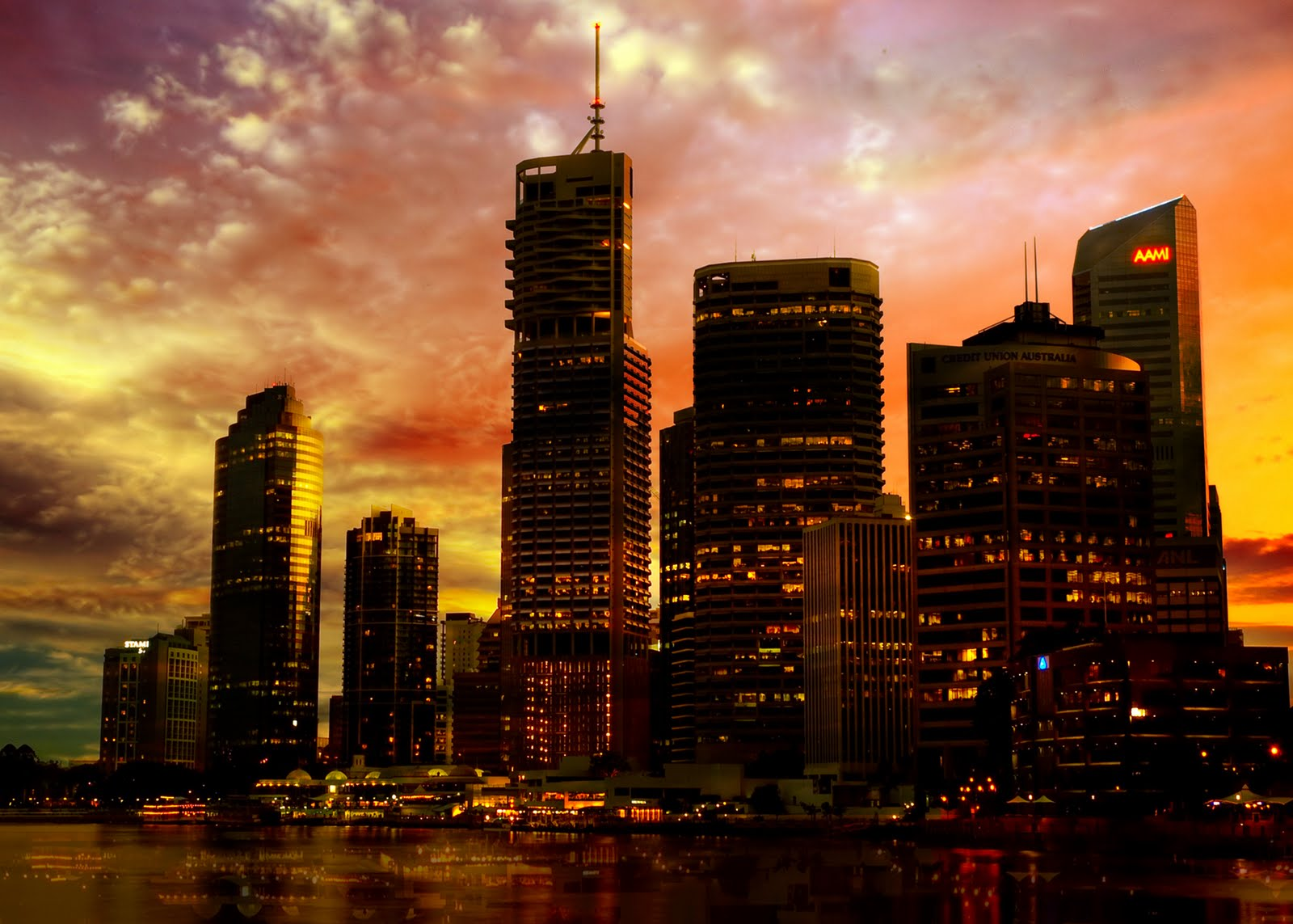 Amazing City Sunset Naturally Backgrounds Wallpapers