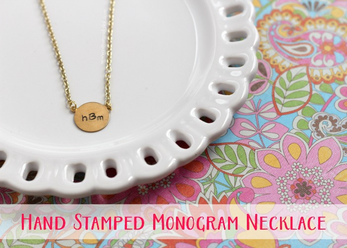 Hand Stamped Monogram Necklace--Create this monogrammed beauty using basic metal stamping supplies!  pitterandglink.com