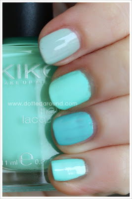 Kiko smalto 389 Lattementa 344 345 turchese swatches confronti