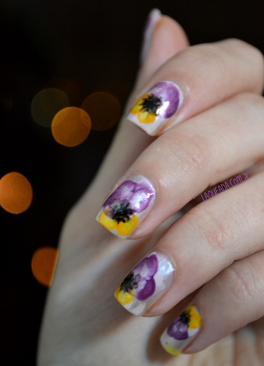 Pansy Flower Watercolor Nail Art
