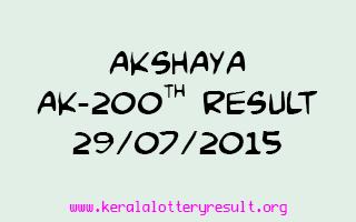 Akshaya AK 200 Lottery Result 29-7-2015