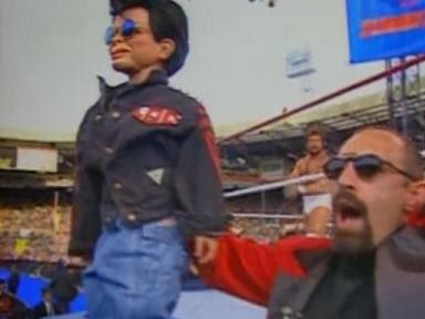 WWF / WWE - Summerslam 1992: Legion of Doom manager, Paul Ellering, with his dummy, Rocco