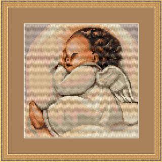 kit de punto de cruz de la marca Lucas con motivo de un angel bebé dormido