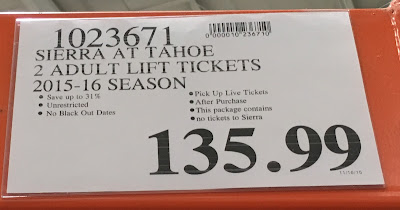 Deal for 2 adult lift tickets for Sierra at Tahoe at Costco