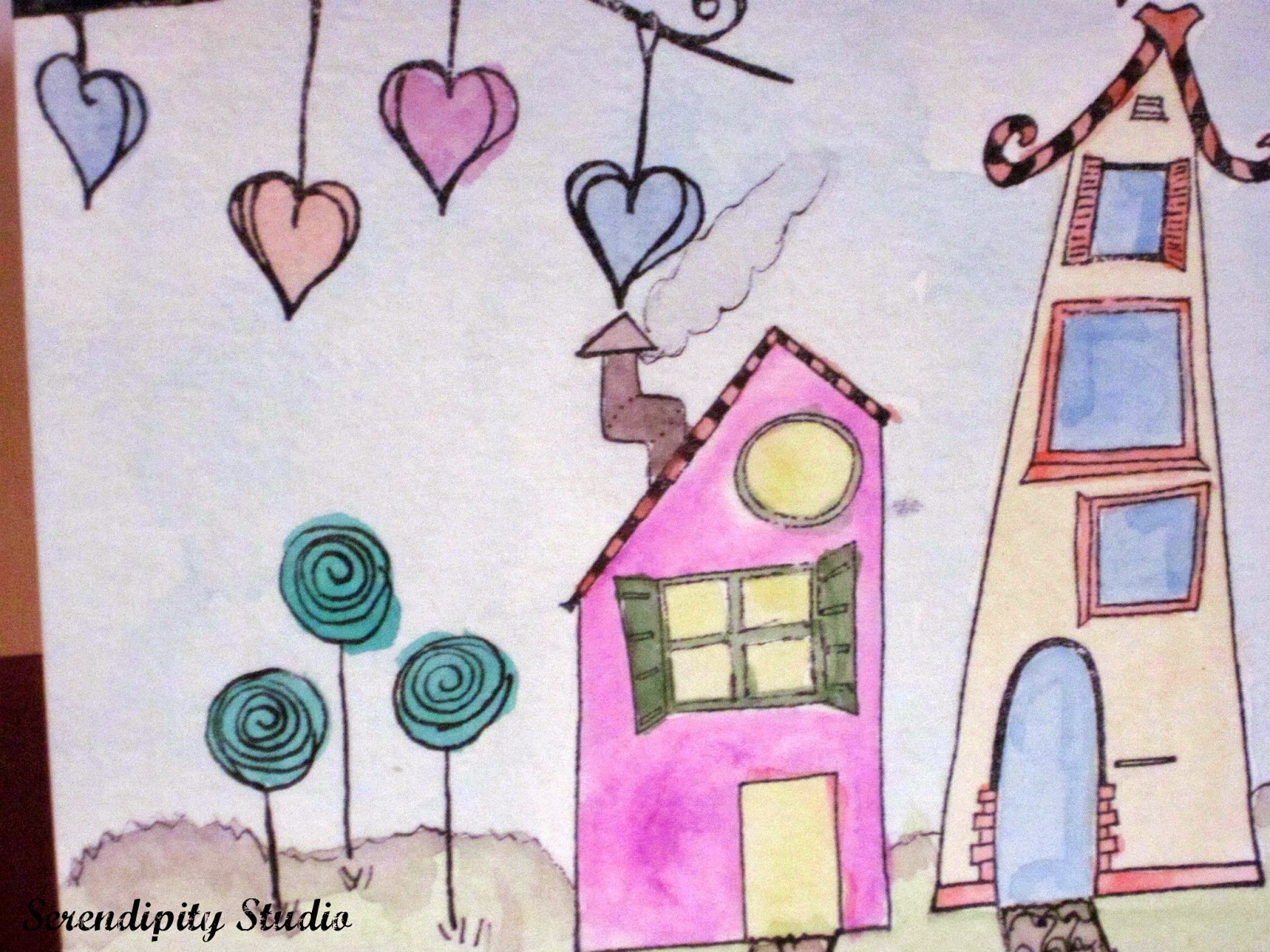 whimsical watercolor houses, rubbermoon stamps, created by Serendipity Studio