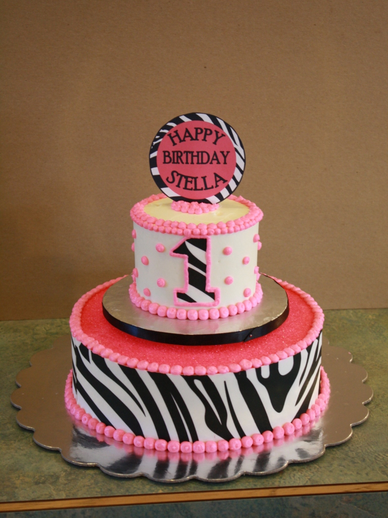 Party Cakes Pink Zebra Mini Two Tier Cake
