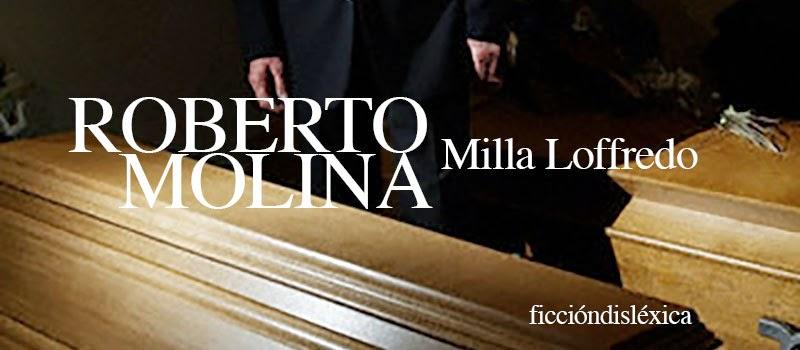 imagen de un ataud con un hombre en terno negro parado junto, el título del cuento Roberto Molina de la escritora milla Loffredo del blog ficciondislexica.com