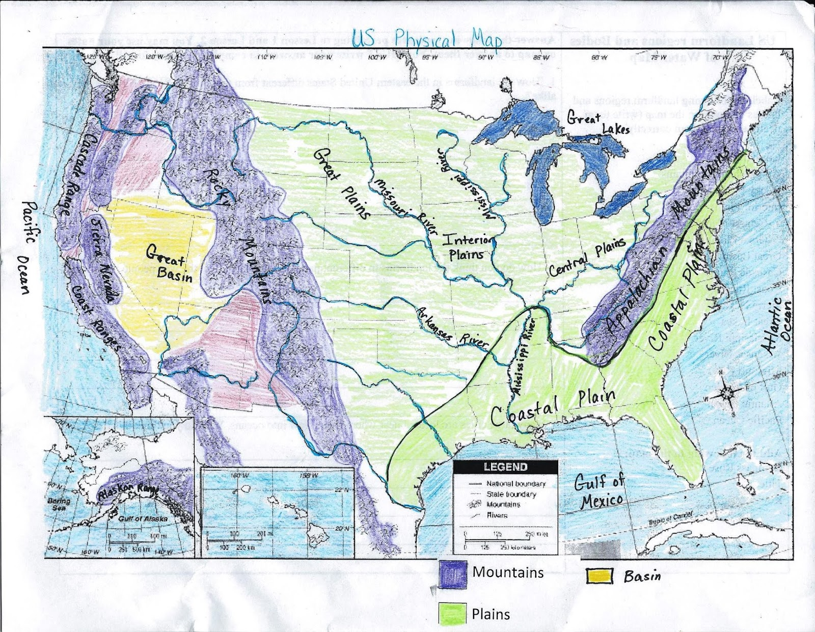 GMS Th Grade Social Studies US Physical Map - Us physical features map labeled