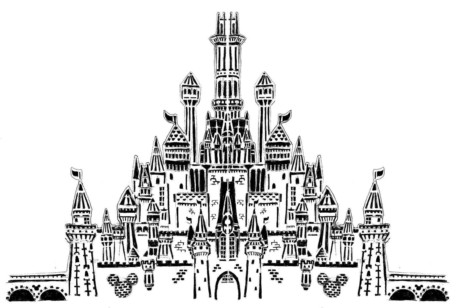 Disney Castle Black And White Drawing Replaced by a completed castleDisney Castle Black And White