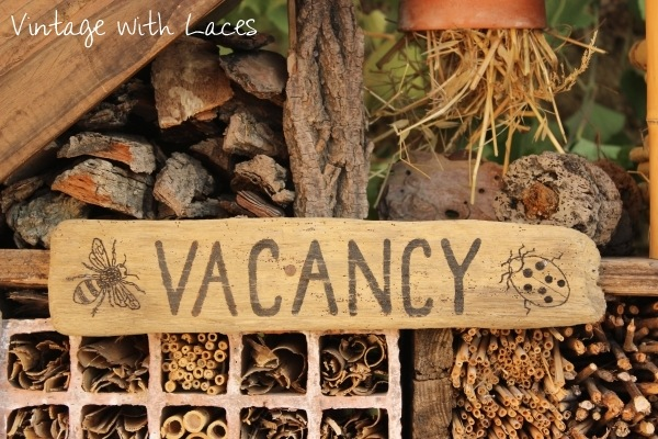 Reclaimed Wood Insect Hotel - Vacancy Sign