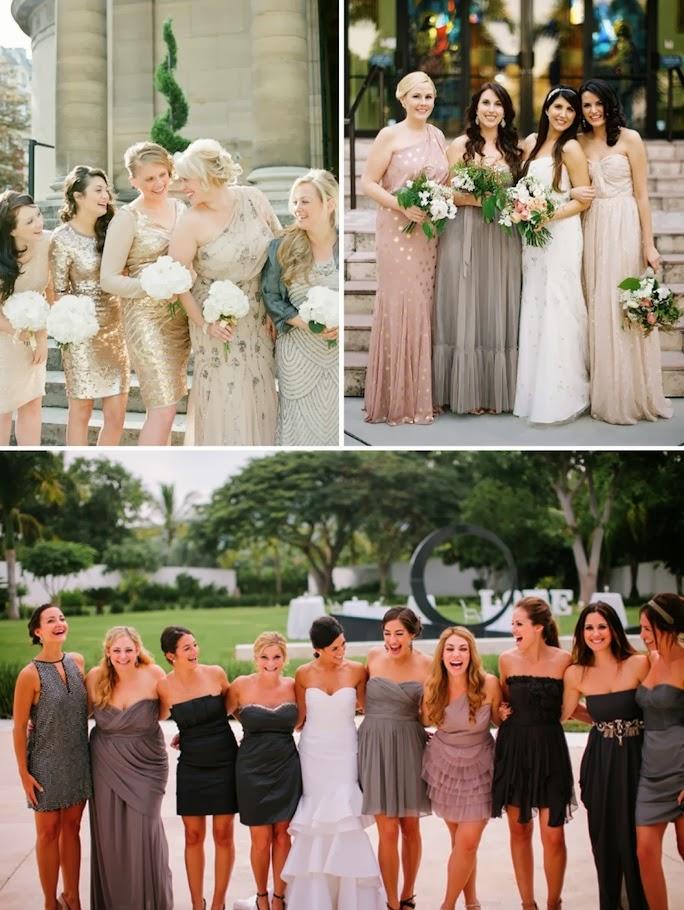 glamorous mismatched bridesmaid dresses