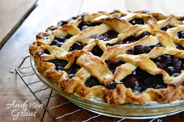 Delicious homemade blueberry pie with a twisted lattice crust.....Add a scoop of ice cream and you've got a perfect dessert for a summer day!  www.andersonandgrant.com  #pie #Marthastewart