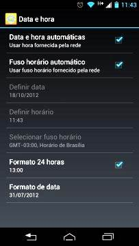 Acertar a hora no Android