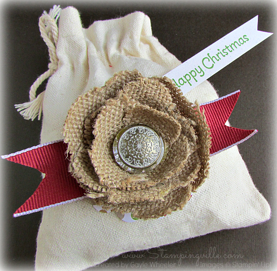 Shabby chic burlap ribbon flower
