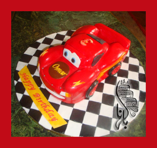 McQueen car cake Happy birthday Omar Bel Hana