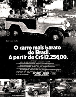 Ford Jeep, brazilian advertising cars in the 70s; os anos 70; história da década de 70; Brazil in the 70s; propaganda carros anos 70; Oswaldo Hernandez;.