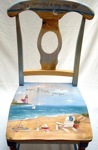 Painted Beach Art Chairs Coastal Decor Ideas And