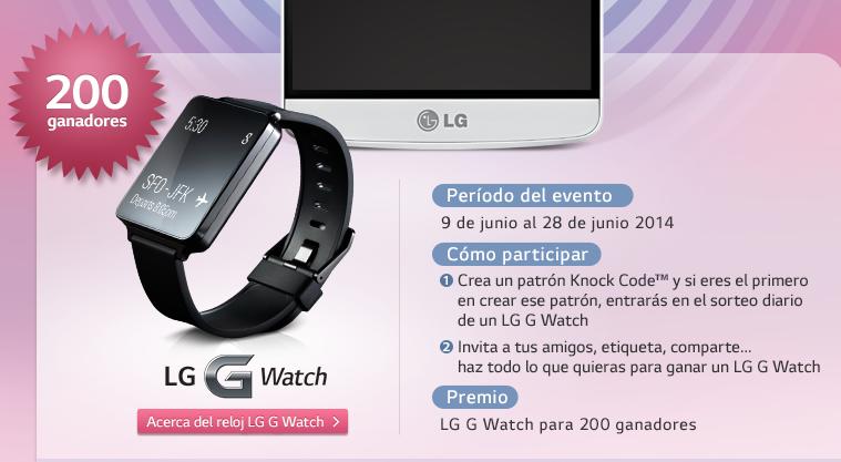 Cada día se sortearan 10 LG G Watch.