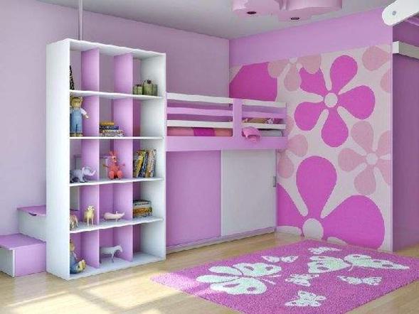 Purple And Pink Bedroom Paint Ideas : Una cocina con pisos brillantes combinados con muebles en madera clara ...