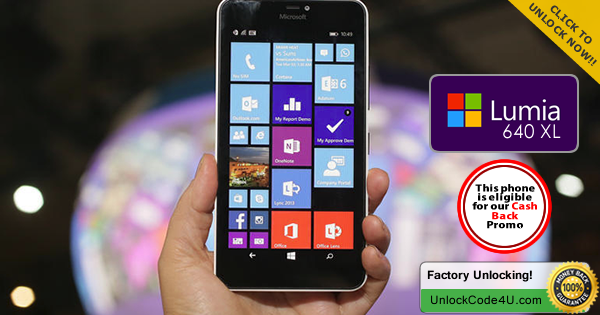 Factory Unlock Code for Microsoft Lumia 640 XL any network worldwide