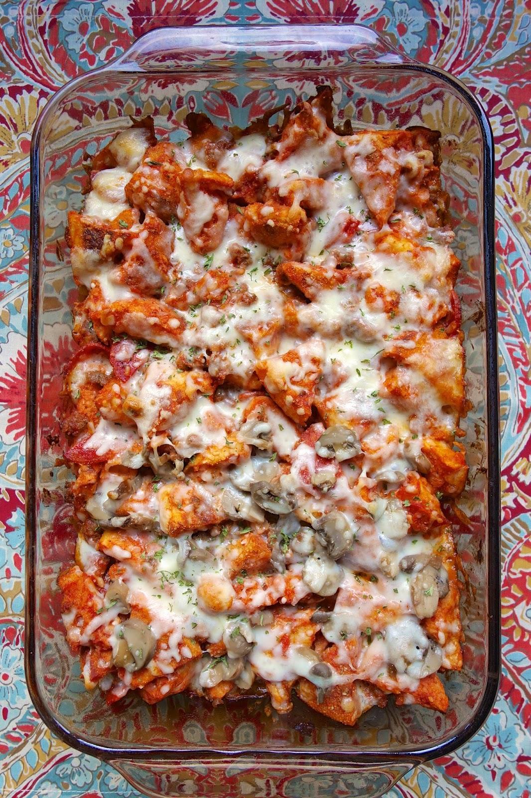 English Muffin Pizza Casserole | Plain Chicken