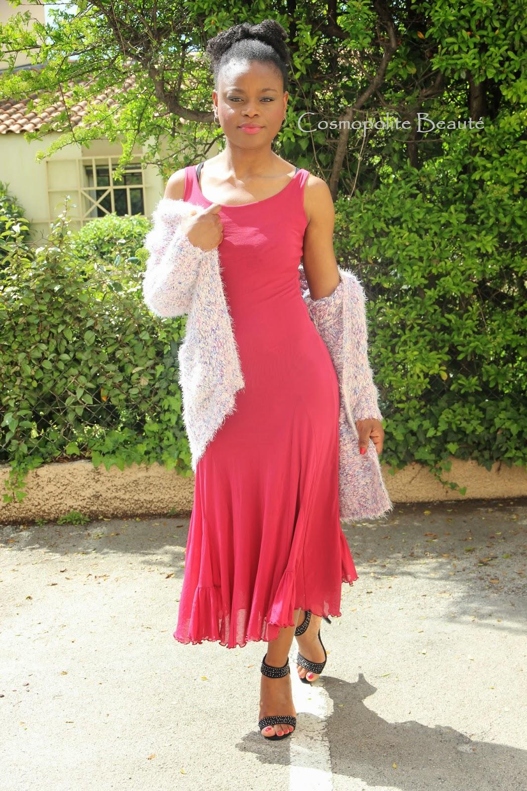 byn french challenge, lookbook, cosmopolite beauté, cosmopolitan beauty, tenue, pastel, look, maxi gilet, robe longue, fushia, sandales à talons