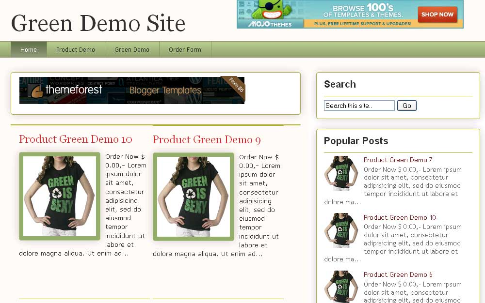 the green blogger store template