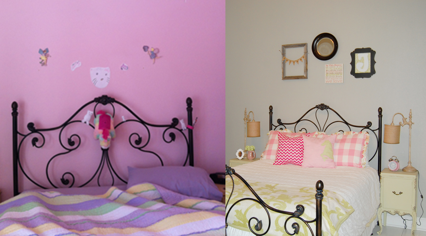 Here is a before and after  We kept the black wrought iron bed. Style with Wisdom  Girly Pink and Green Bedroom