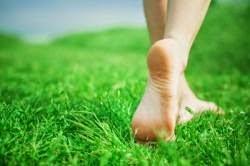 jalan kaki tanpa alas kaki dirumput