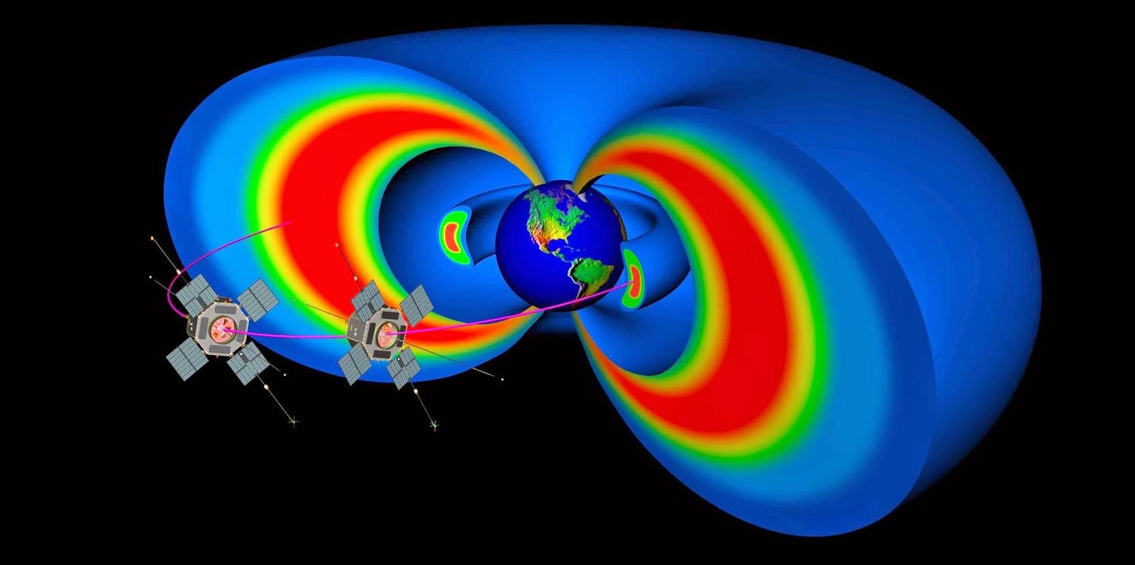 Gráfico da NASA apresentando os escudos magnéticos de Van Allen em volta da Terra  e as duas 2 sondas da NASA, também conhecidas como Radiation Belt Storm Probes