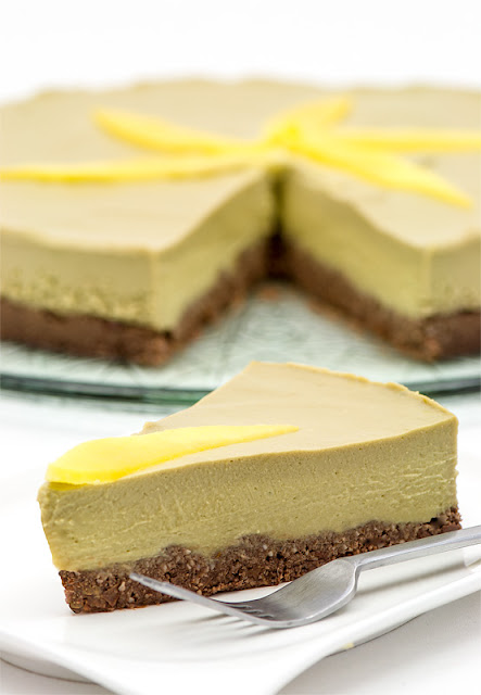 Raw mango cake on piece cut